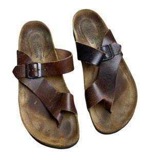 NAOT Men's Java Nubuk Brown 'Tahoe' Thong Sandals Size M10/43 - Pre-Owned